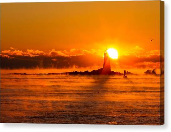 Winter Sunrise Whaleback Light Canvas Print