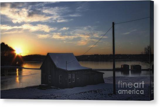 Winter Sunset At The Bog Canvas Print