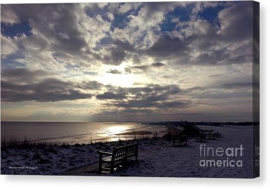 Winter Sunset Beach And Bench Canvas Print by Merice Ewart