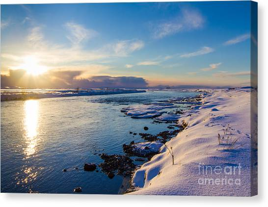Winter Sunset In Iceland Canvas Print