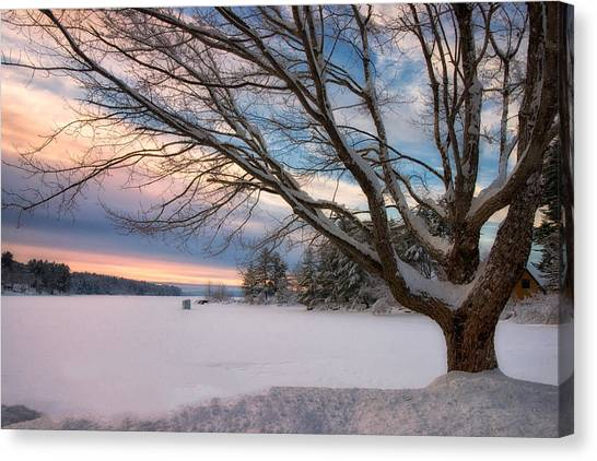 Winter Sunset On Long Lake Canvas Print