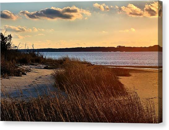 Winter Sunset On The Cape Fear River Canvas Print