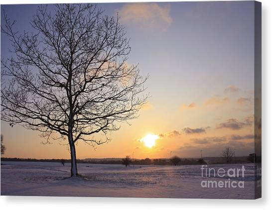 Winter Sunset Uk Canvas Print