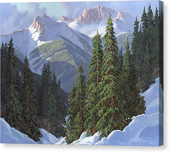 Snow Bank Canvas Print - Winter Sunshine by Randy Follis