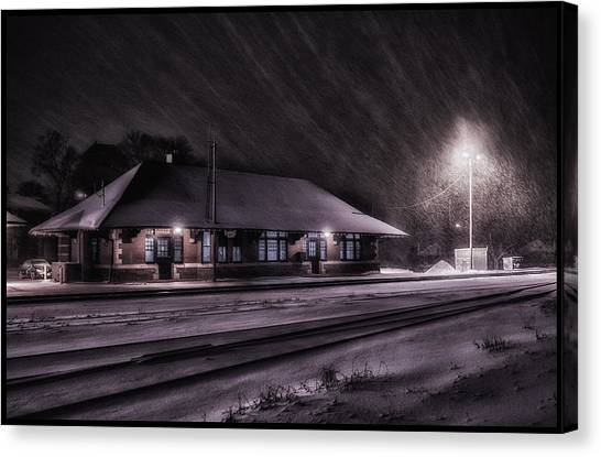 Winter Train Station  Canvas Print