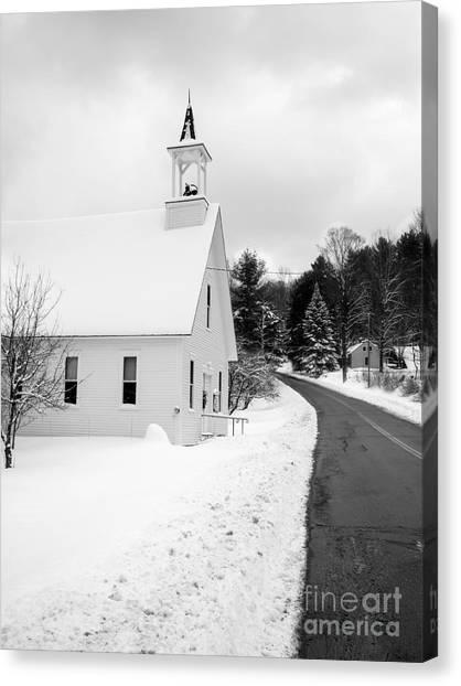 Vermont Canvas Print - Winter Vermont Church by Edward Fielding