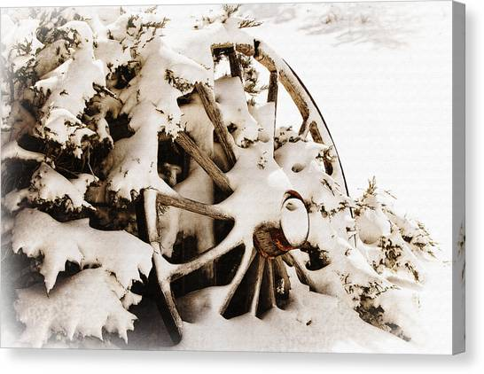 Winter Wagon Wheel Canvas Print