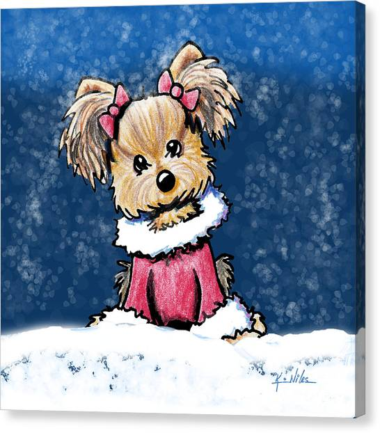 Winter Whimsy Yorkie Terrier Canvas Print by Kim Niles