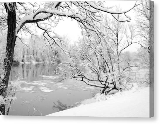 Winter Wonderland In Black And White Canvas Print