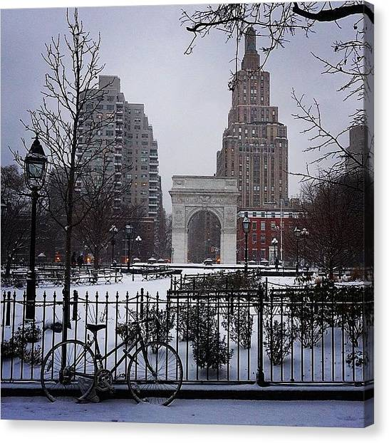 Snowball Canvas Print - Winter Wonderland Washington Square by Picture This Photography