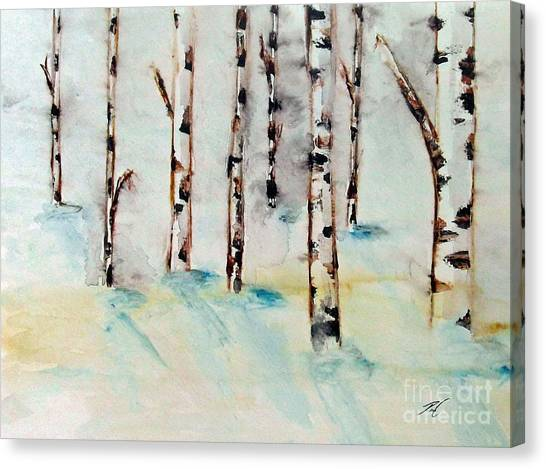 Winterbirch Canvas Print