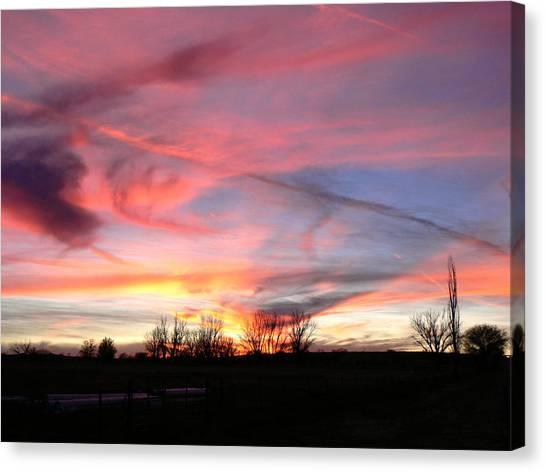 Winters' Sunset Rainbow Canvas Print by Cheryl Damschen
