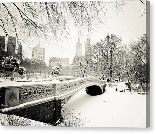 Winter Canvas Print - Winter's Touch - Bow Bridge - Central Park - New York City by Vivienne Gucwa