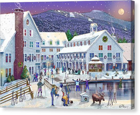 New Hampshire Canvas Print - Wintertime At Waterville Valley New Hampshire by Nancy Griswold