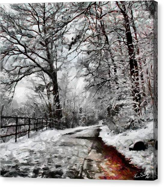 Wintery Road Canvas Print