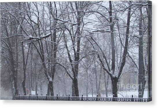 Moscow Skyline Canvas Print - Wintry by Anna Yurasovsky