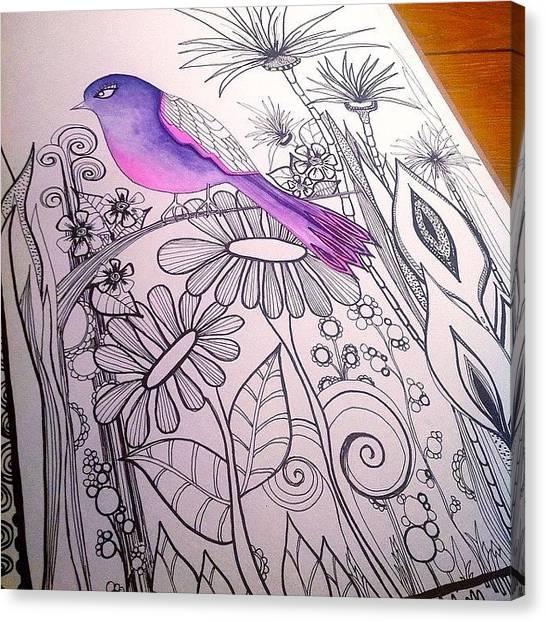 Flower Canvas Print - #wip #birdart #gardenart #flowers by Robin Mead