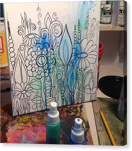 Gardens Canvas Print - Wip.... In The Beginning... #doodles by Robin Mead