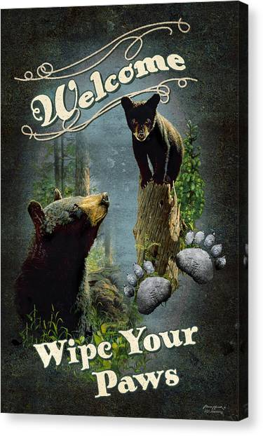 Black Bears Canvas Print - Wipe Your Paws by JQ Licensing