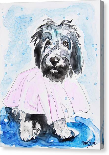 Watercolor Pet Portraits Canvas Print - Wipe Your Paws by Shaina Stinard