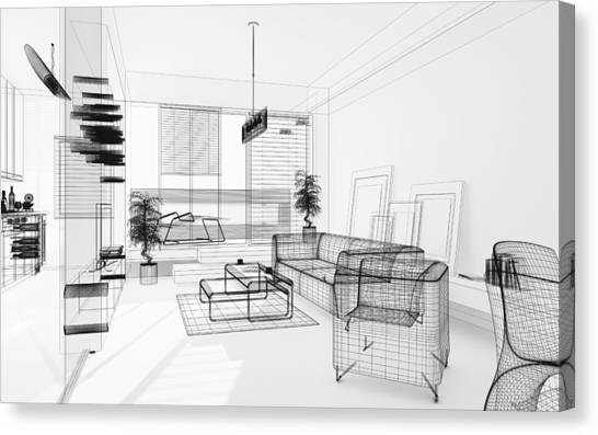 Wireframe 3d Modern Interior. Blueprint. Render Image. Architecture Abstract. Canvas Print by PetrePlesea
