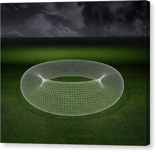 Doughnuts Canvas Print - Wireframe Torus by Robert Brook/science Photo Library