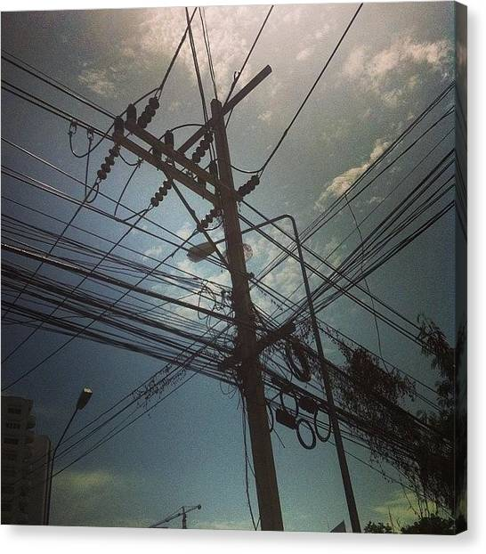 Law Enforcement Canvas Print - #wires #electric #sky #mess #lines by Darren O' Dea