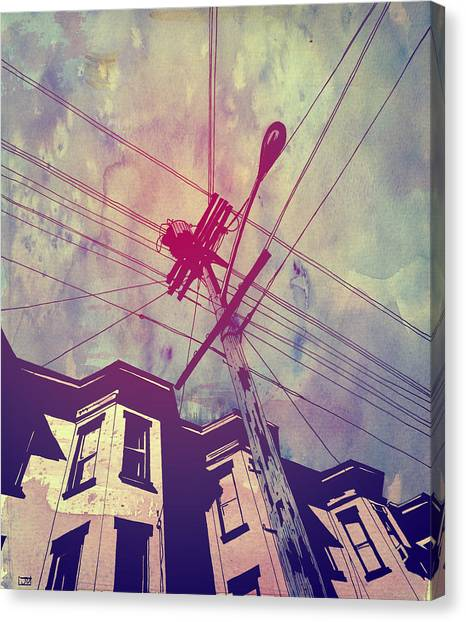 Sky Canvas Print - Wires by Giuseppe Cristiano
