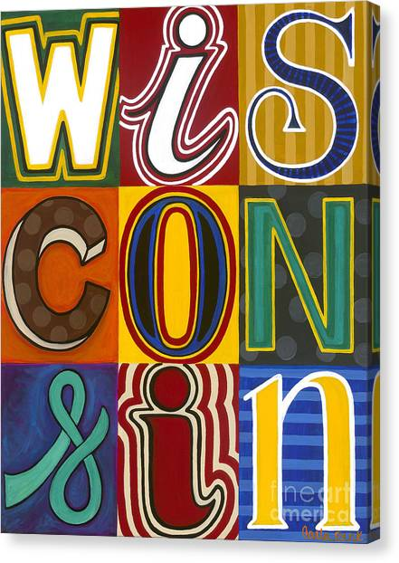 Canvas Print featuring the painting Wisconsin Pop Art by Carla Bank