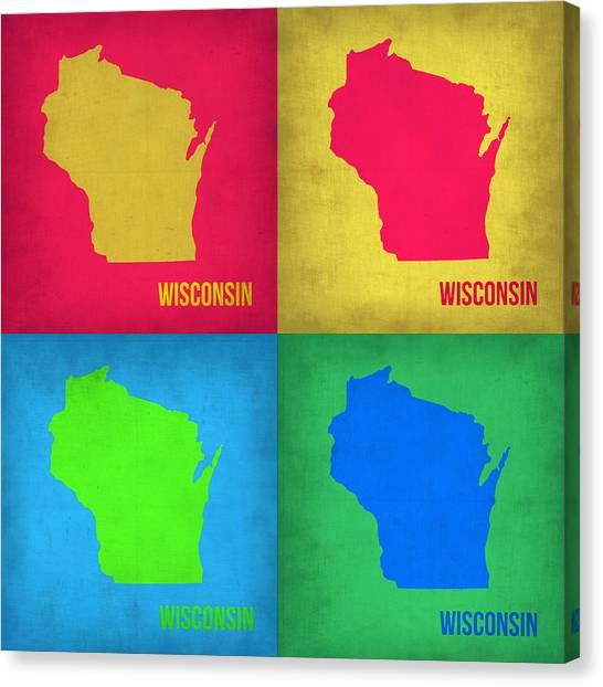 Wisconsin Canvas Print - Wisconsin Pop Art Map 1 by Naxart Studio
