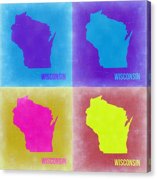 Wisconsin Canvas Print - Wisconsin Pop Art Map 3 by Naxart Studio