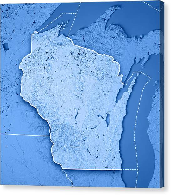 Wisconsin State Usa 3d Render Topographic Map Blue Border By