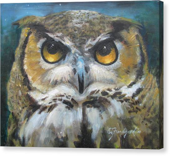 Wise Old Owl Eyes  Canvas Print