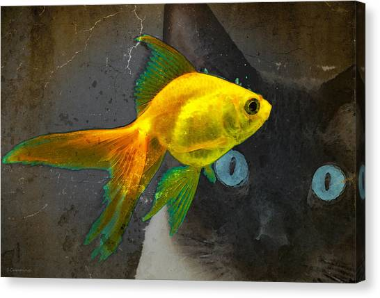 Goldfish Canvas Print - Wishful Thinking - Cat And Fish Art By Sharon Cummings by Sharon Cummings