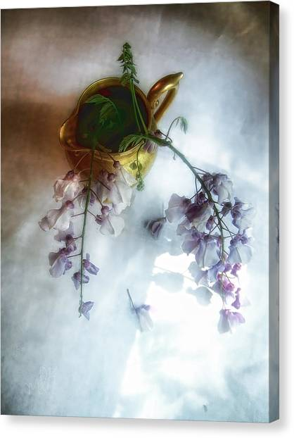 Wisteria In A Gold Pitcher Still Life Canvas Print