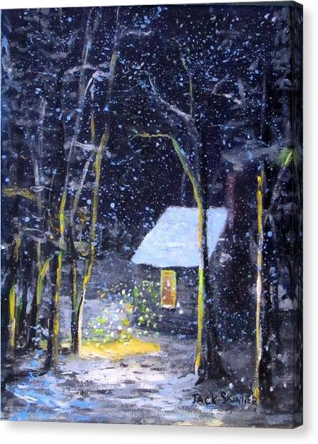 Canvas Print - Wintery  Night At Thoreau's Cove by Jack Skinner