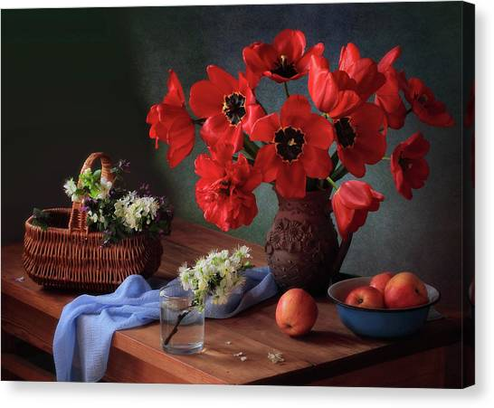 Basket Canvas Print - With A Bouquet Of Red Tulips by ??????? ????????