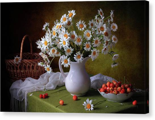 With Camomiles And Merry Canvas Print by ??????? ????????