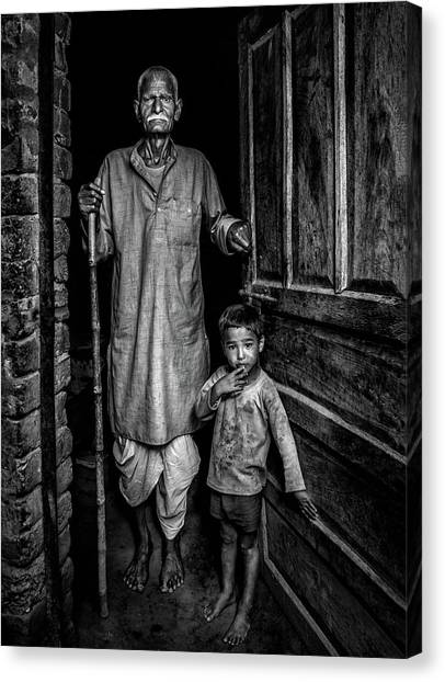 Old Door Canvas Print - With Grandfather by Saeed Dhahi