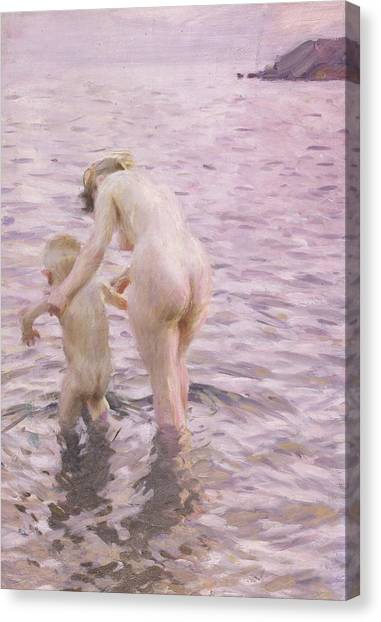 Nude Mom Canvas Print - With Mother by Anders Leonard Zorn