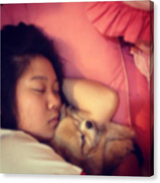 Pom-pom Canvas Print - With The Bebe! #lilo #nap #love #my by Maddie Wong