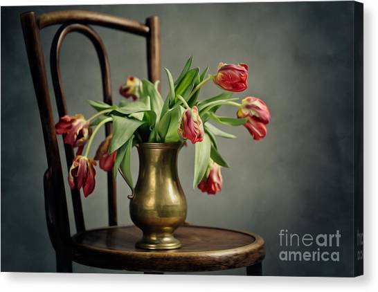 Tulip Canvas Print - Withered Tulips by Nailia Schwarz