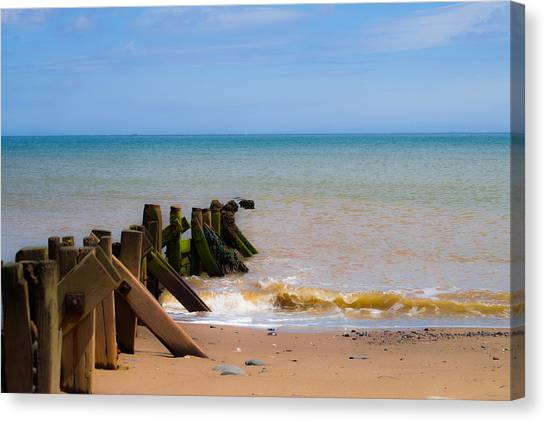 Canvas Print featuring the photograph Withernsea Groynes by Scott Lyons