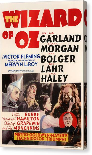 Placard Canvas Print - Wizard Of Oz Vintage Movie Poster by Mountain Dreams