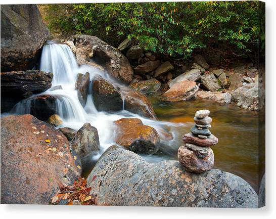 Wnc Flowing Zen Waterfalls Landscape - Harmony Waterfall Canvas Print