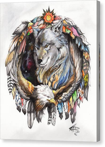 Wolf And Eagle Canvas Print by Miguel Karlo Dominado