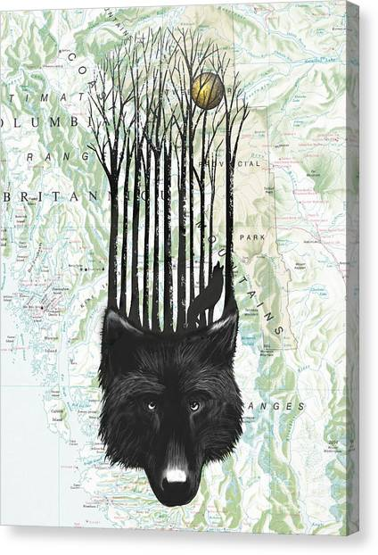 Black Forest Canvas Print - Wolf Barcode by Sassan Filsoof