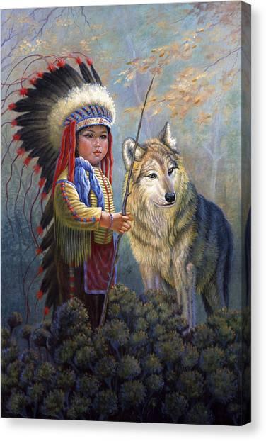 Survival Canvas Print - Wolf Boy by Gregory Perillo