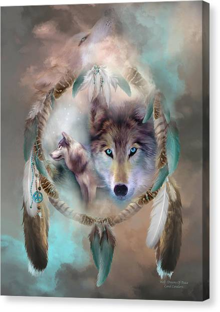 Catchers Canvas Print - Wolf - Dreams Of Peace by Carol Cavalaris