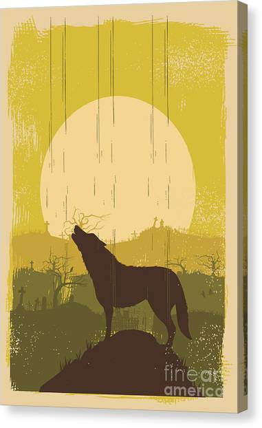Wolf Howling Background, Vector Canvas Print by Seita
